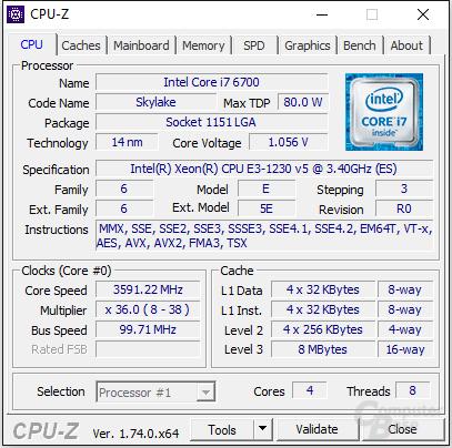 Intel Xeon E3-1230 v5 mit geringerer Spannung
