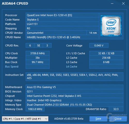 Intel Xeon E3-1230 v5 auf Asus E3 Pro Gaming V5