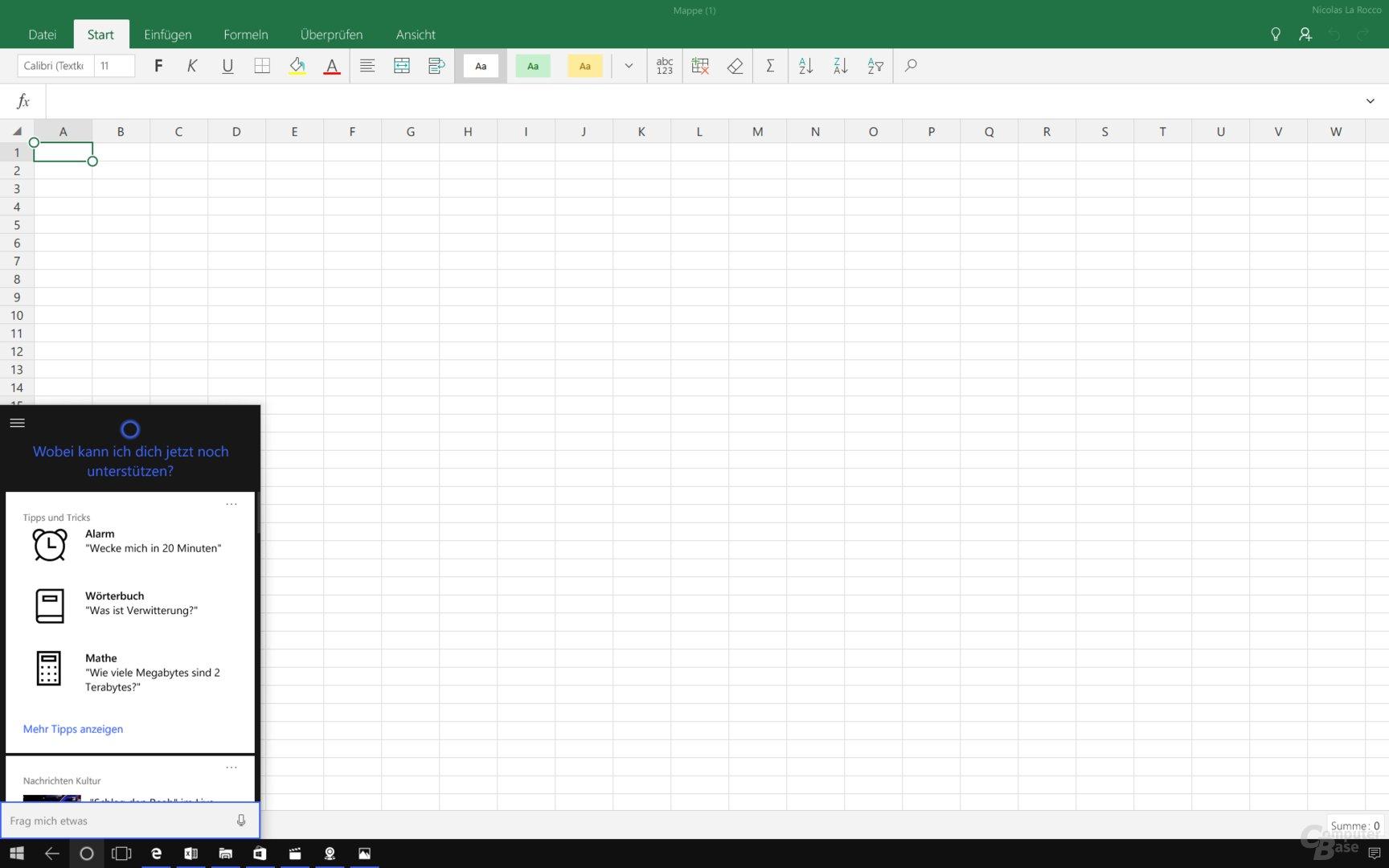Cortana vor Excel