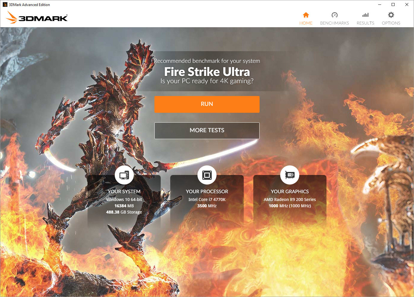 3DMark Startbildschirm 2016