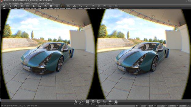 Autodesk VRED Professional 2016 SR1-SP4 rendert ein Bild für Oculus Rift