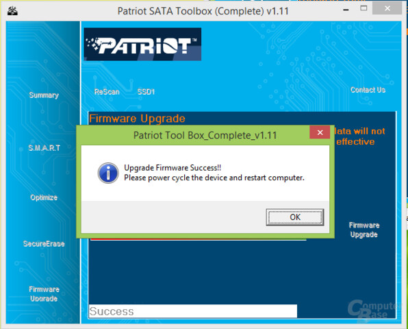 Firmware-Upgrade via Patriot-Toolbox