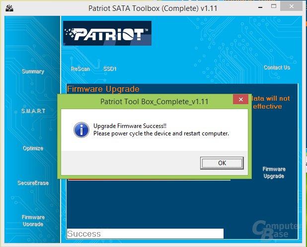 Firmware-Upgrade erfolgreich