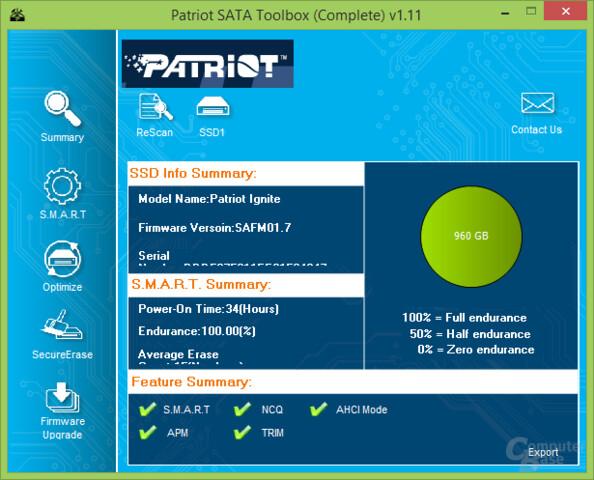 Patriot-Toolbox: Laufwerksübersicht
