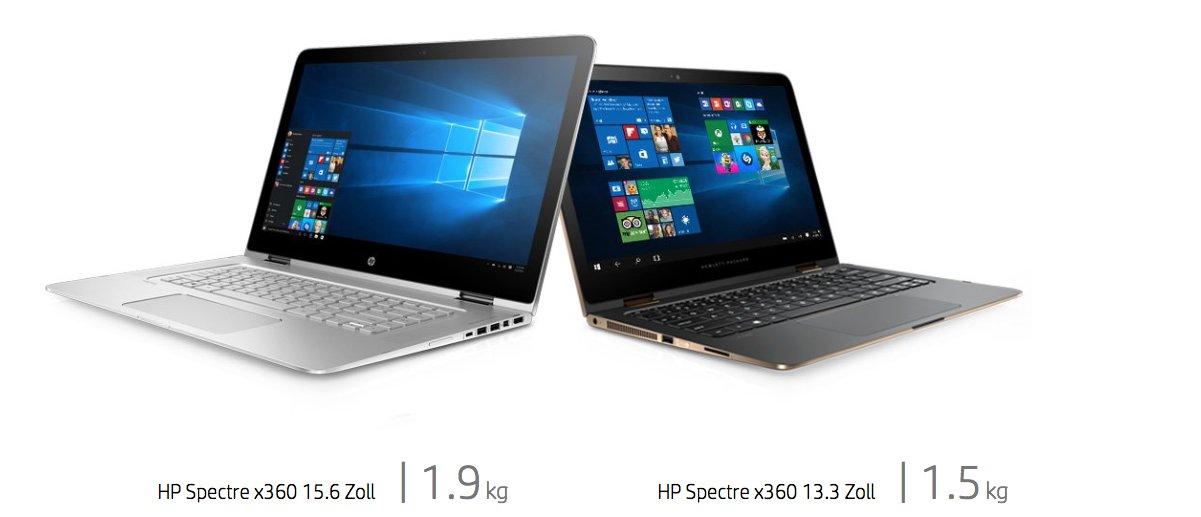 Das HP Spectre x360 mit 15,6 und 13,3 Zoll
