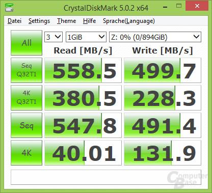 Im CrystalDiskMark wird die versprochene Schreibrate erreicht