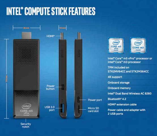 Die neuen Intel Compute Sticks mit Core m3-6Y30 und m5-6Y57