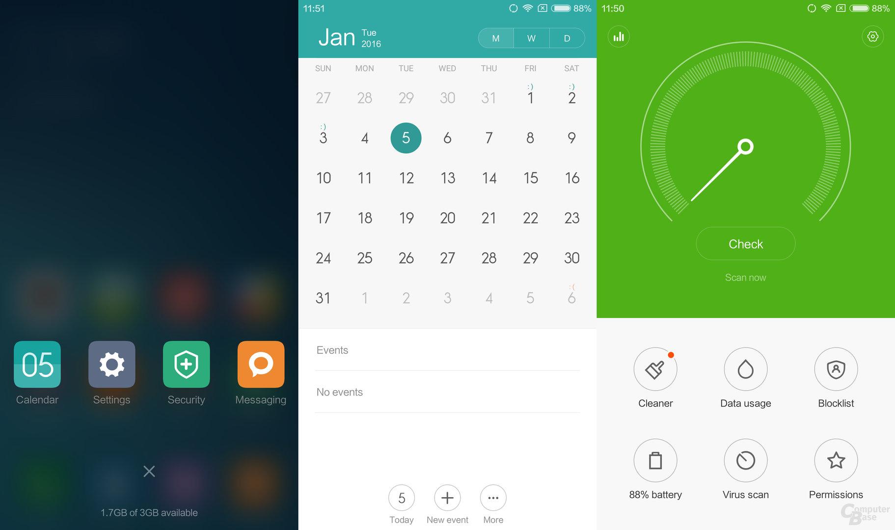 Geöffnete Apps|Kalender|Security