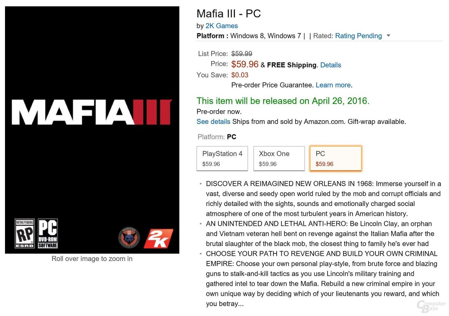 Mafia 3 soll am 26. April erscheinen