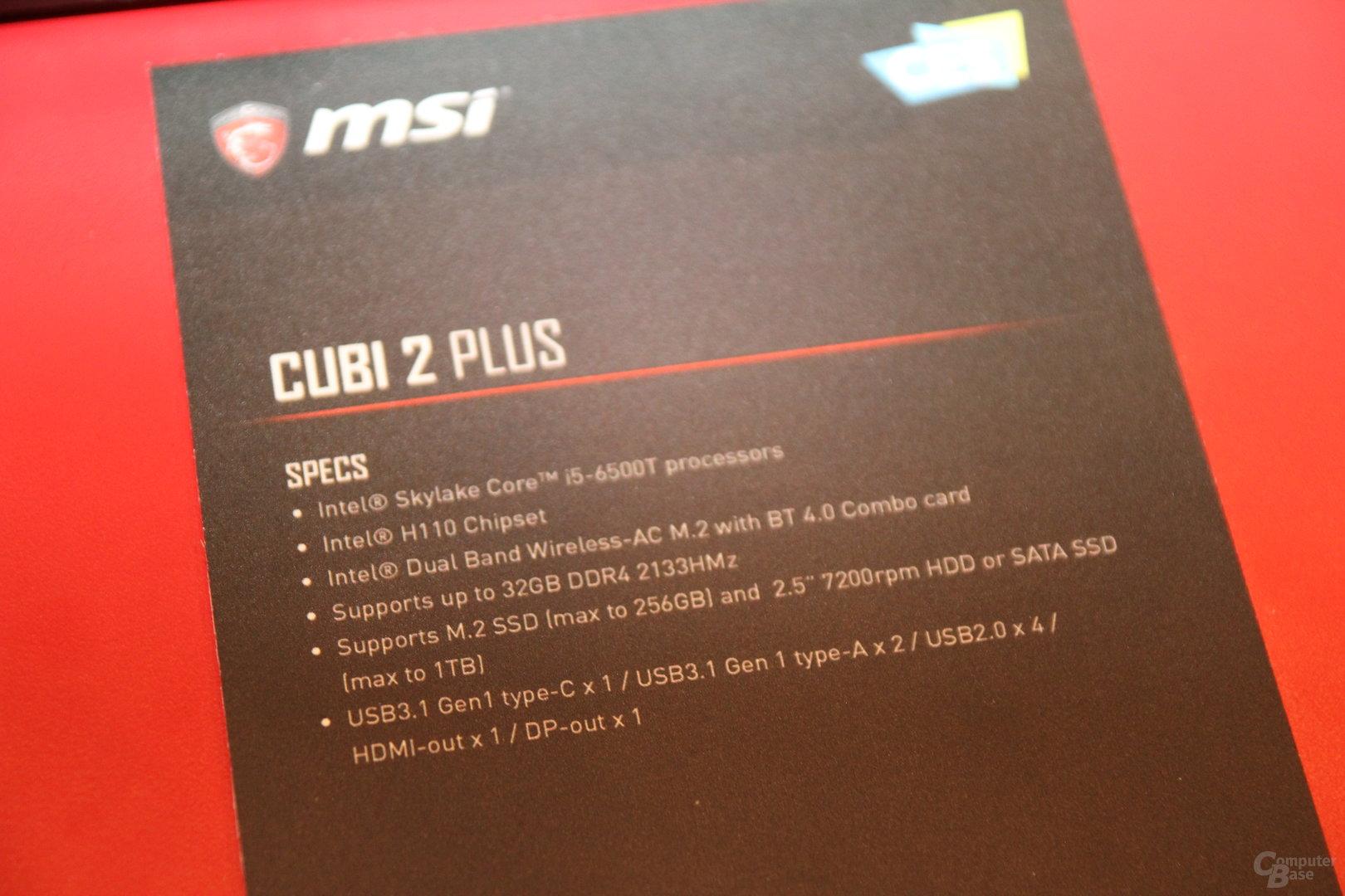 MSI Cubi 2 Plus – Spezifikationen