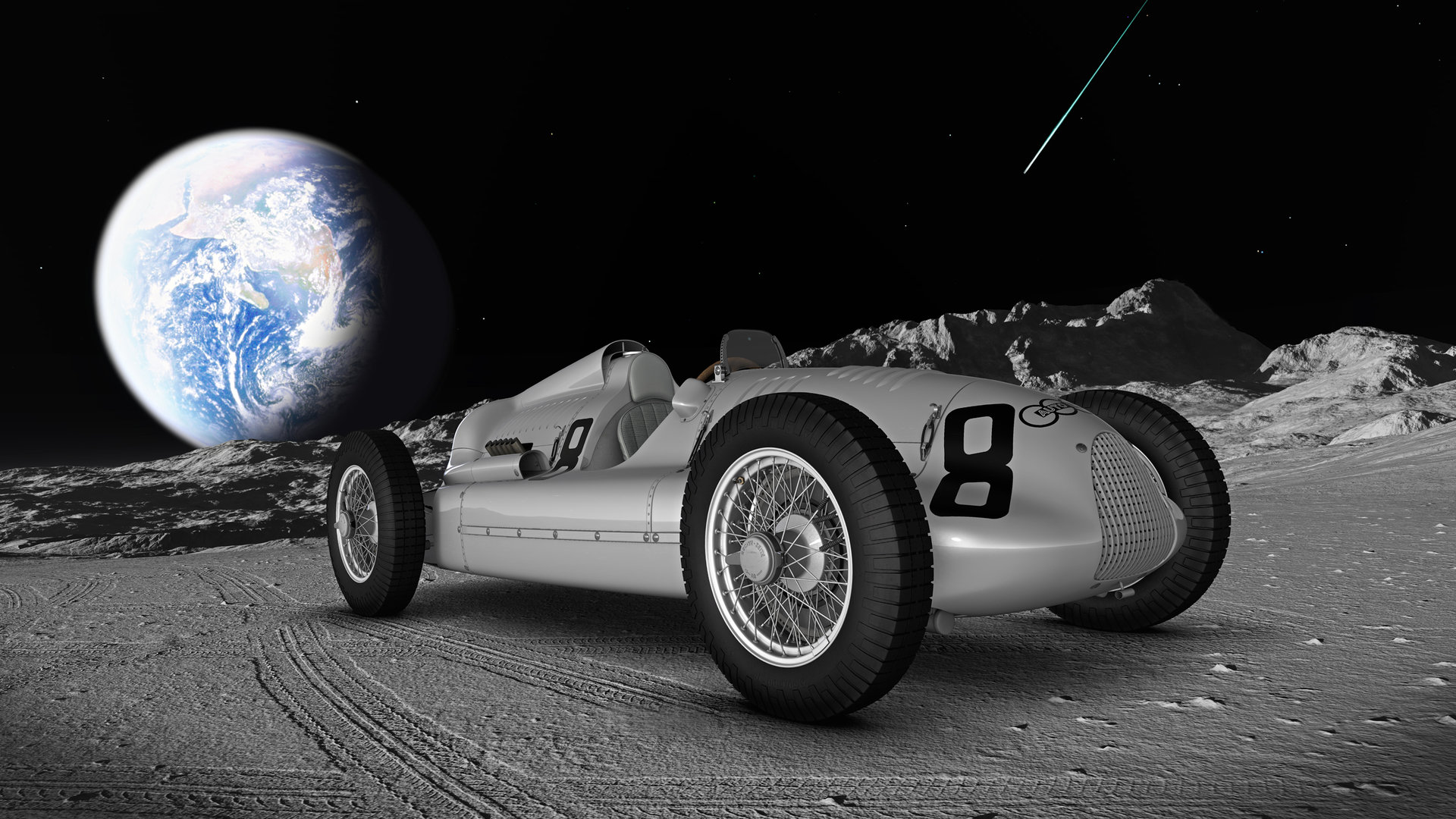 Auto Union Typ D auf dem Mond