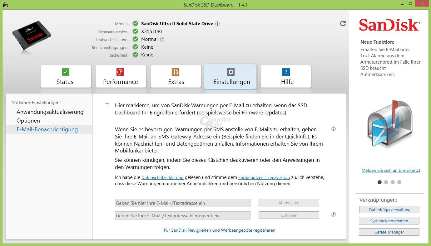 SSD Dashboard: Benachrichtigungen
