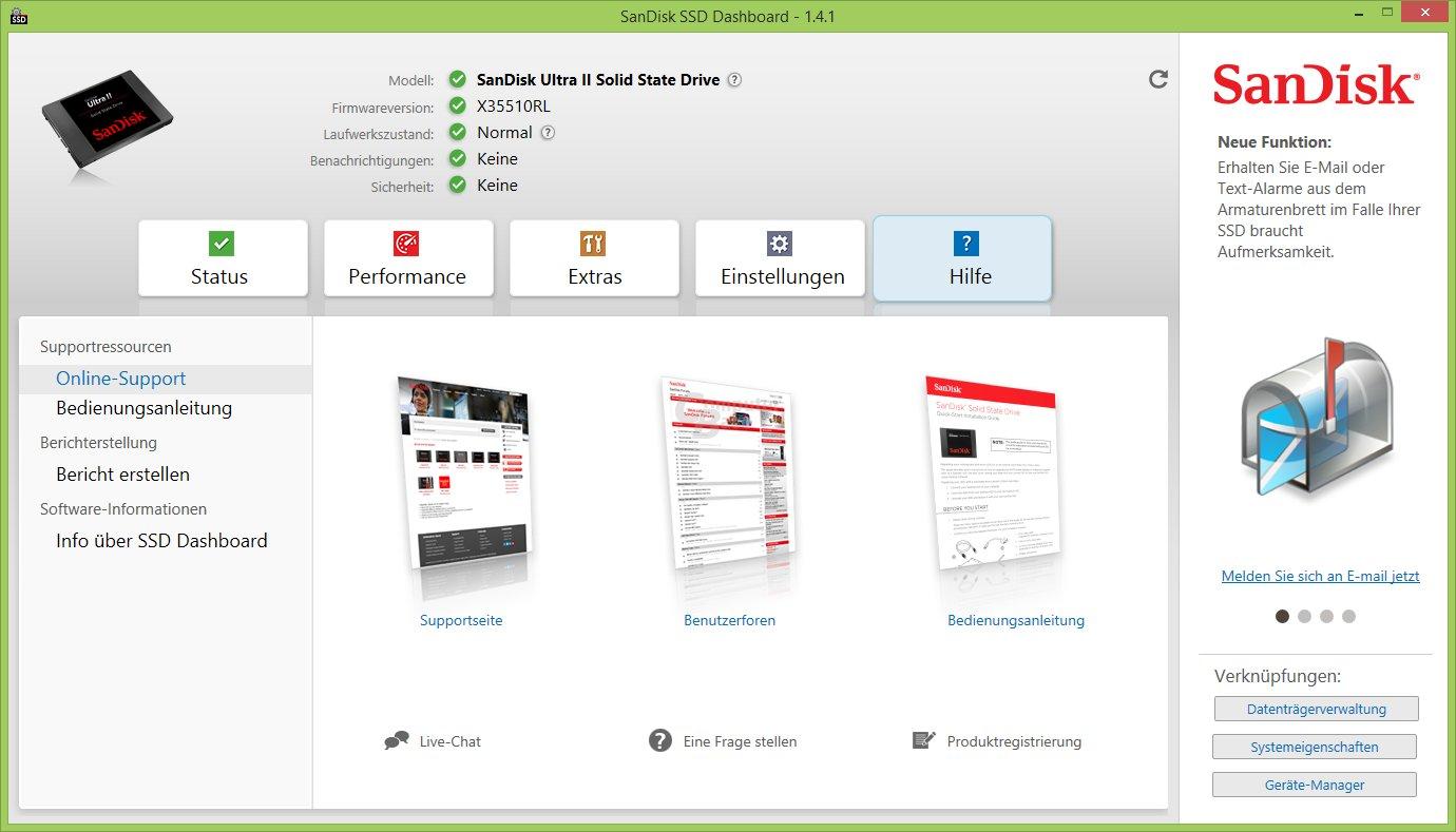 SSD Dashboard: Hilfe und Support