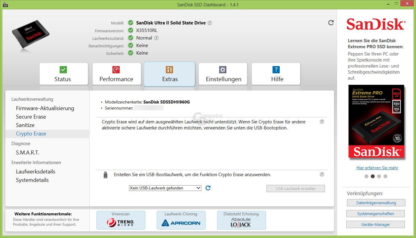 SSD Dashboard: Crypto Erase