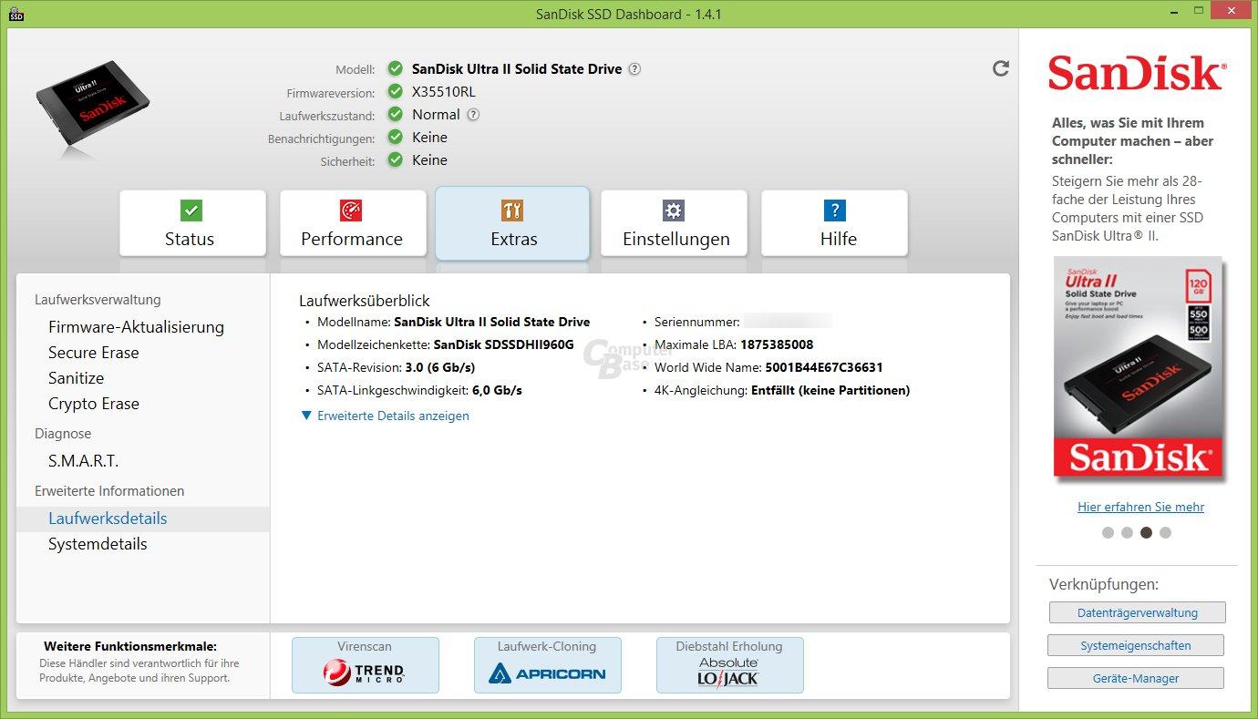 SSD Dashboard: Laufwerksdetails