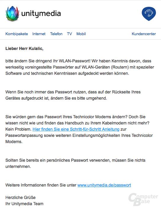 Unitymedia-Mail an Kunden