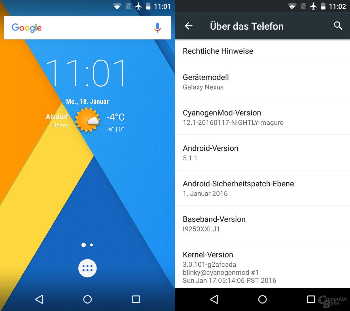 CyanogenMod 12.1 (Android 5.1 Lollipop) auf dem Samsung Galaxy Nexus
