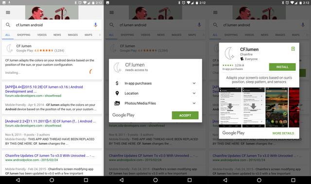 Installation von Apps direkt aus der Google-Suche heraus