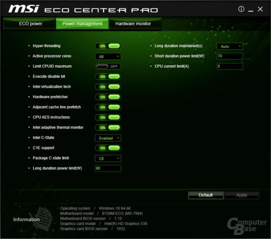 ECO-Modus mit Power Limit für CPU