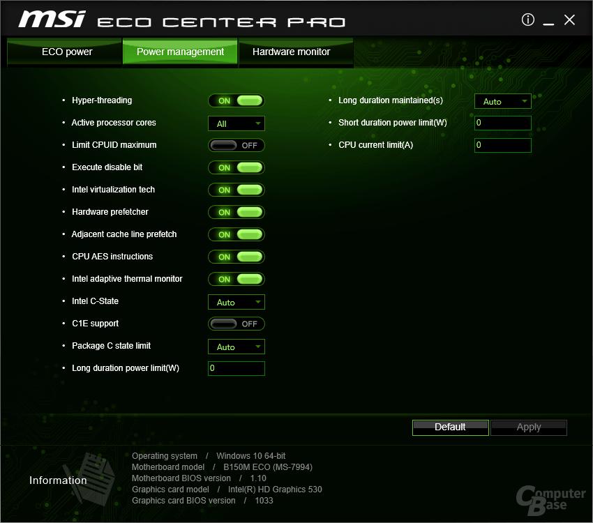 MSI ECO Center Pro – Power Management (Eco Modus aus)