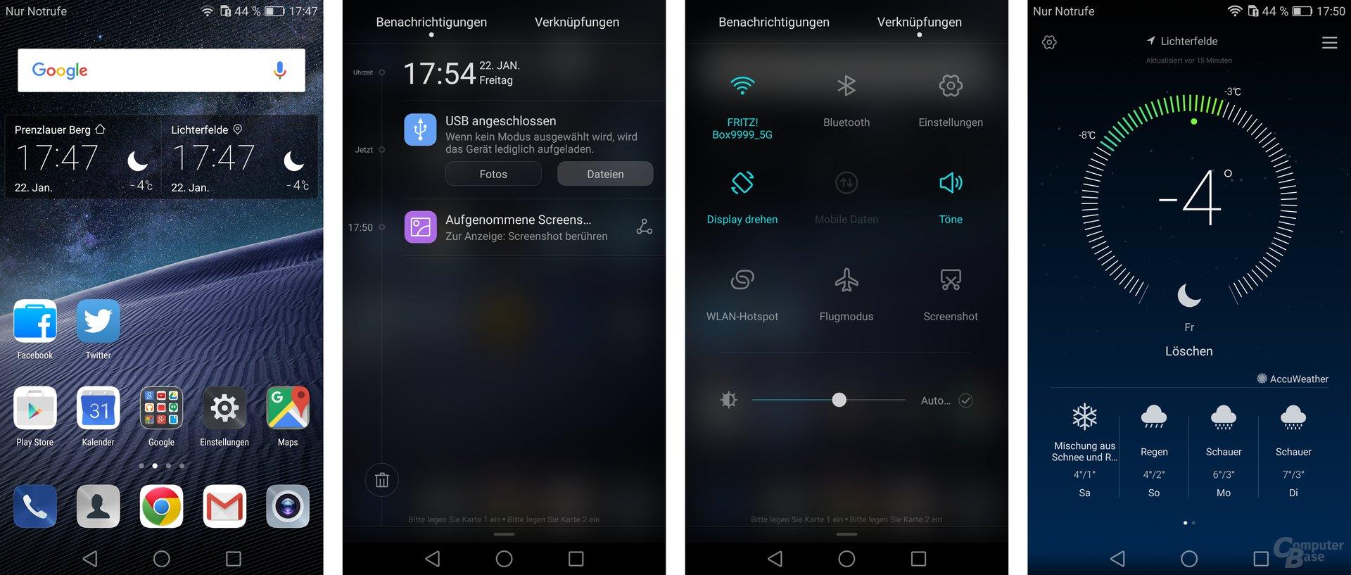 Homescreen / Benachrichtigungen / Schnellzugriff / Wetter-App
