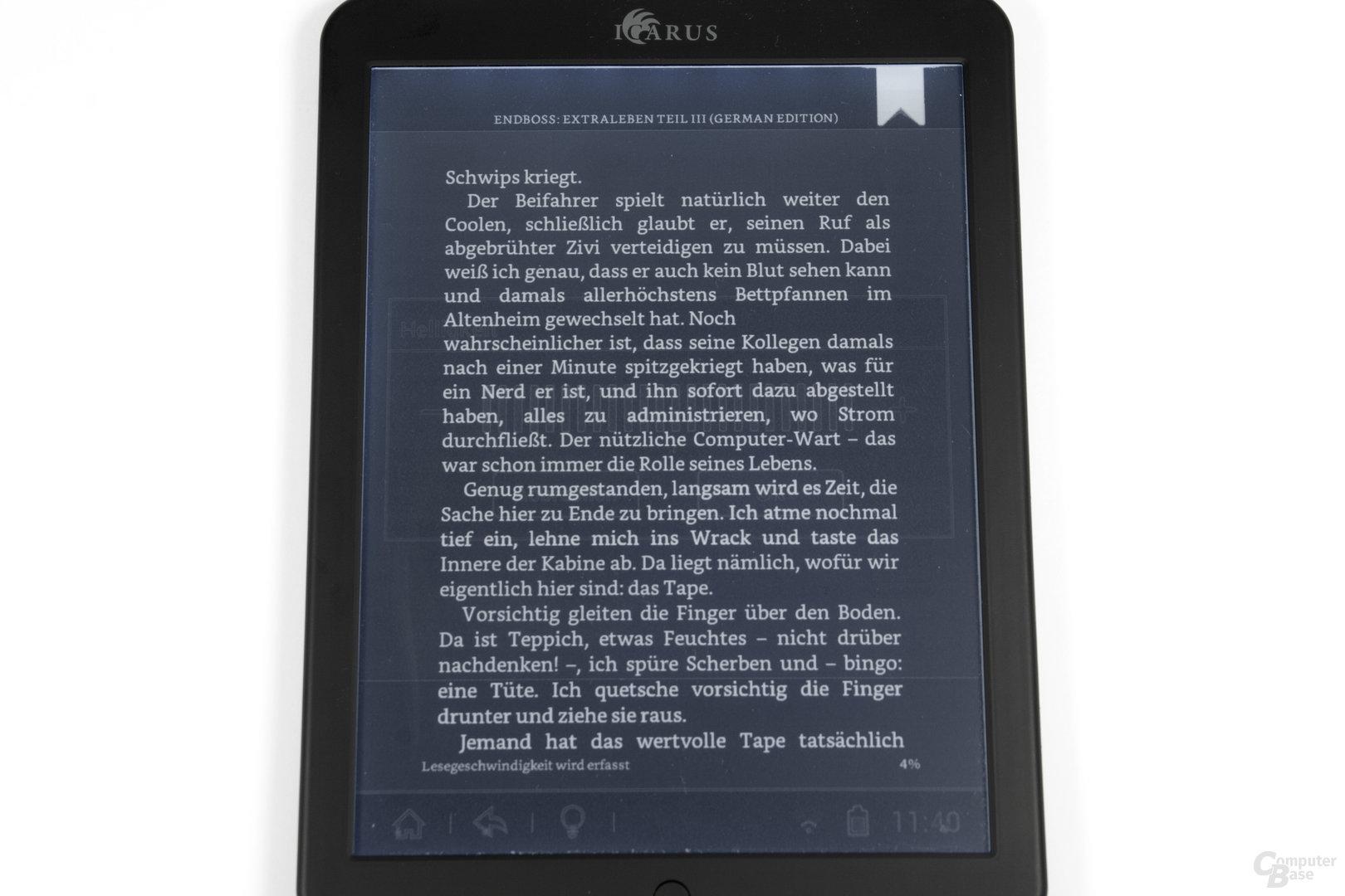Invertierungsprobleme mit Kindle App im Nachtmodus