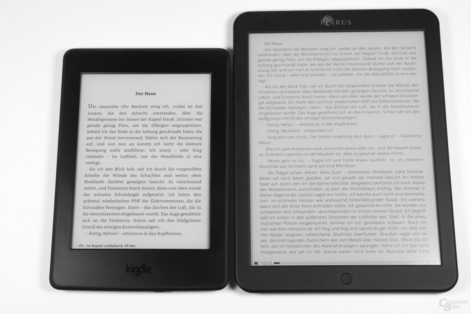 Schriftbildvergleich Kindle Paperwhite 2014 vs. Icarus Illumina XL  (FB2 Reader)
