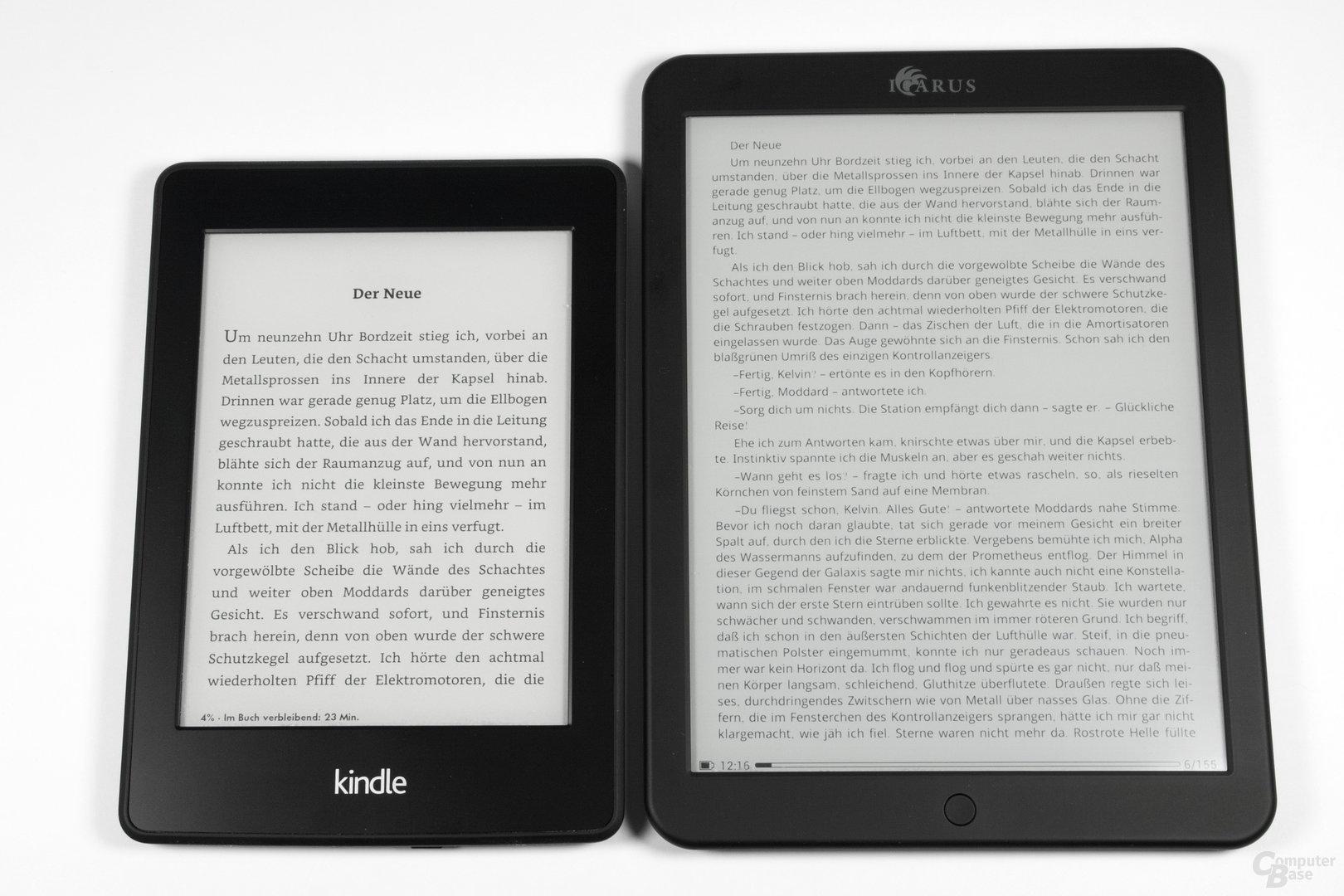 Schriftbildvergleich Kindle Paperwhite 2013 vs. Icarus Illumina XL (FB2 Reader)