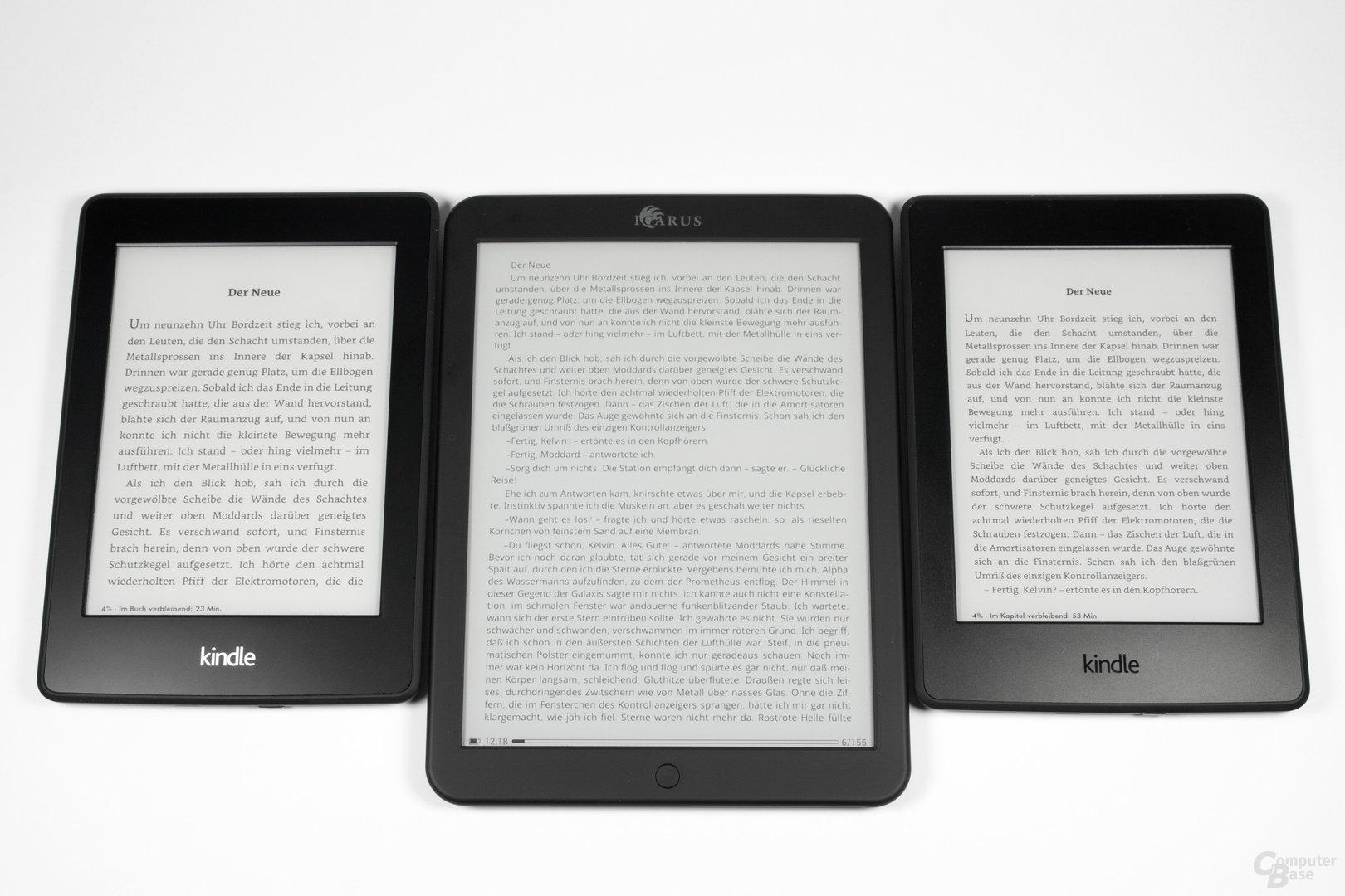 Schriftbildvergleich Kindle Paperwhite 2013 vs. Icarus Illumina XL vs. Kindle Papherwhite 2014