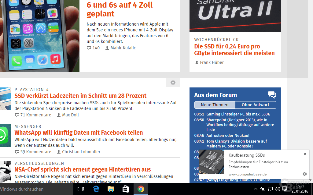 Web-Push-Benachrichtigung in Chrome unter Windows 10