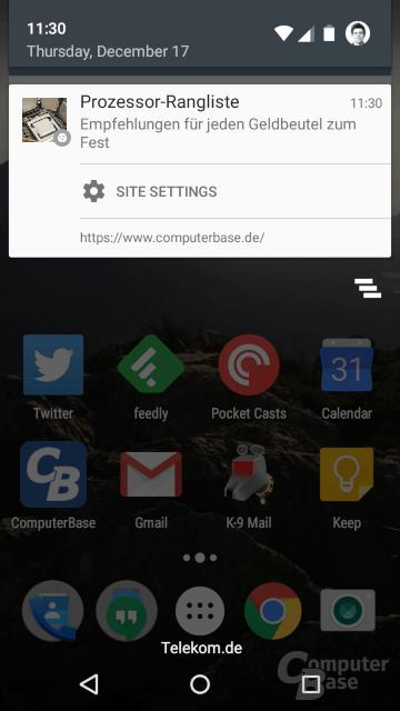Web-Push-Benachrichtigung unter Android