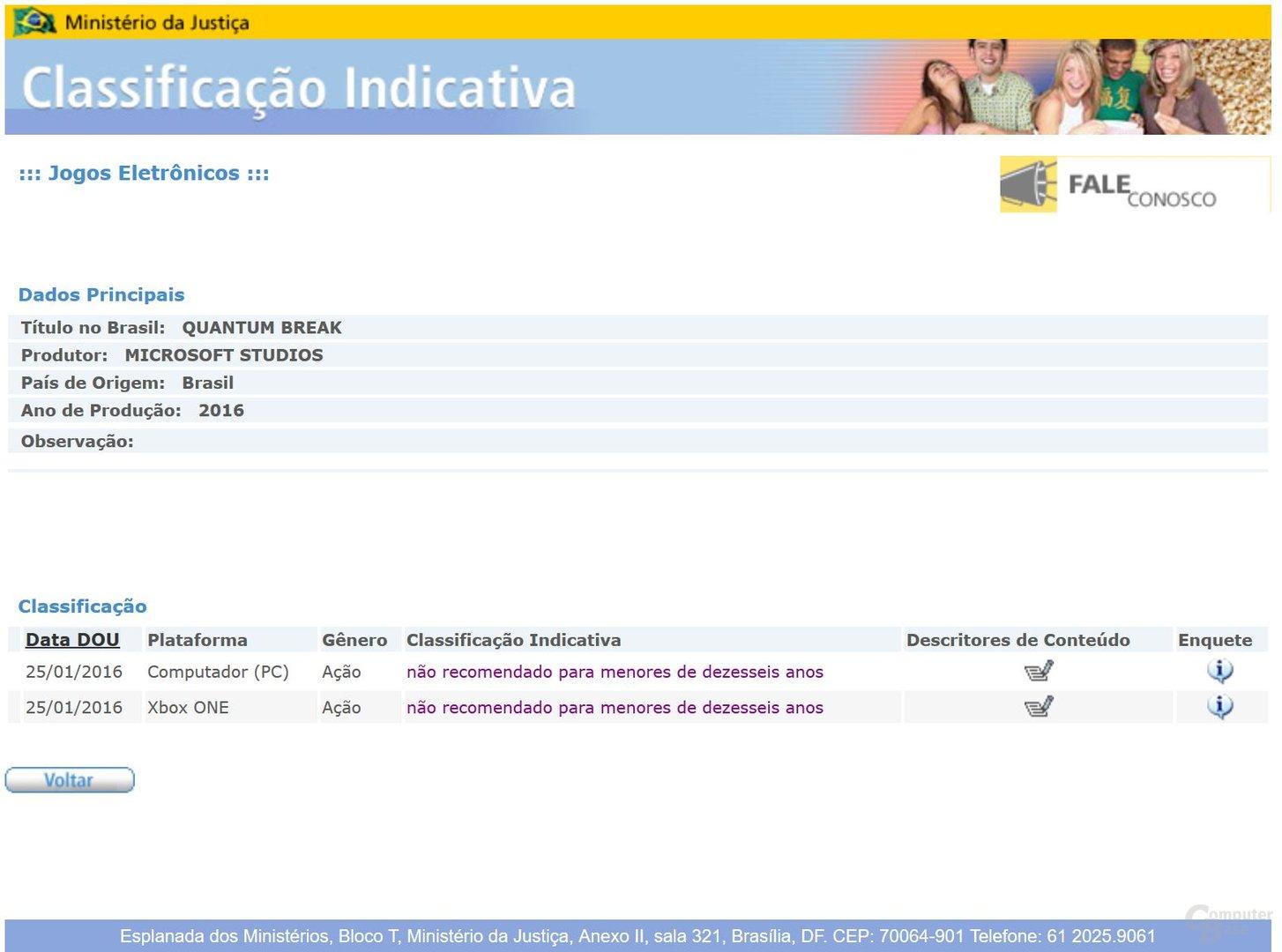 Kurzzeitig hat eine brasilianische Behörde Quantum Break zweimal aufgeführt