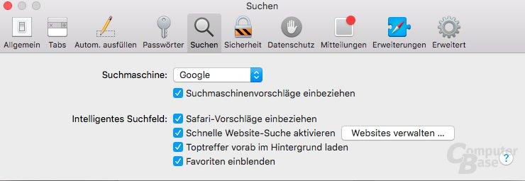 Safari-Vorschläge unter OS X