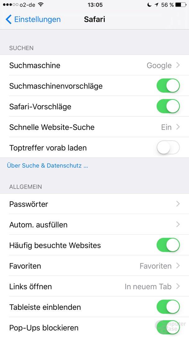 Safari-Vorschläge unter iOS