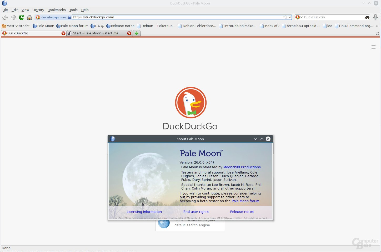 Pale Moon mit Standard-Suche per DuckDuckGo