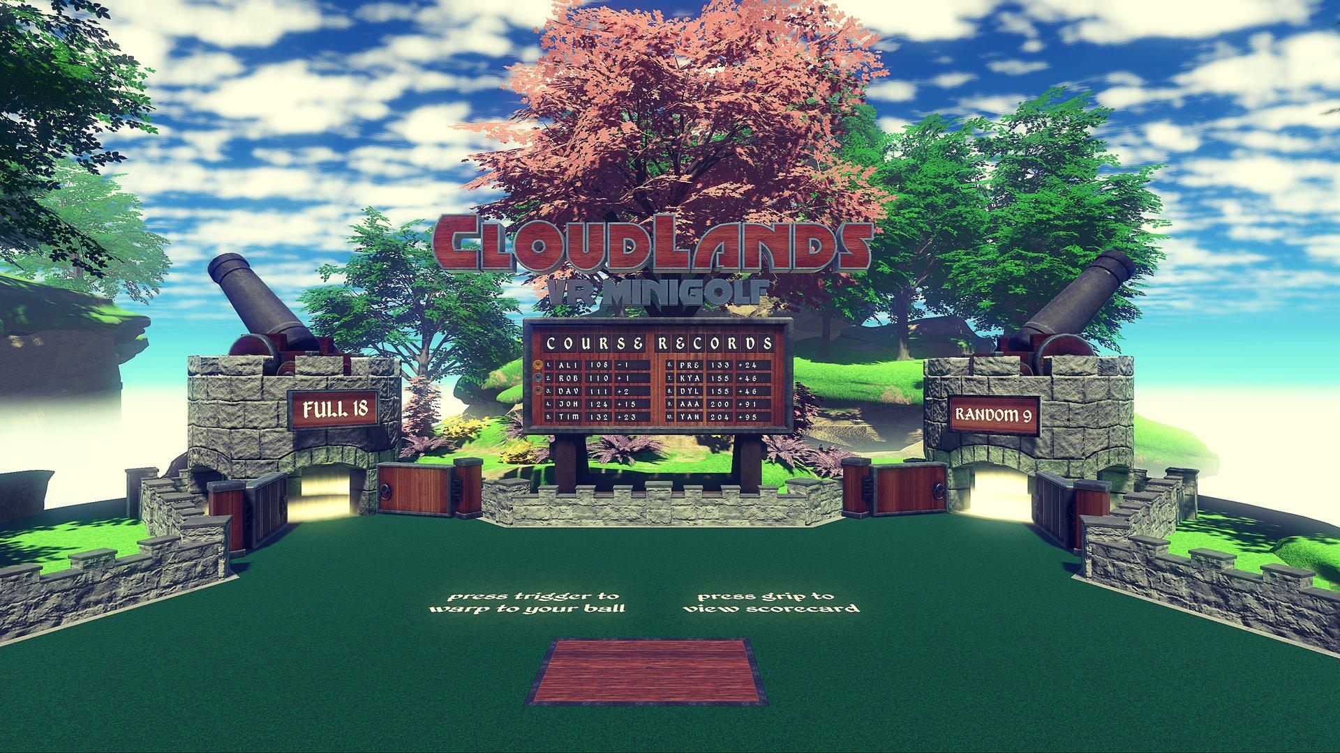 Cloudlands VR Minigolf – Hauptmenü