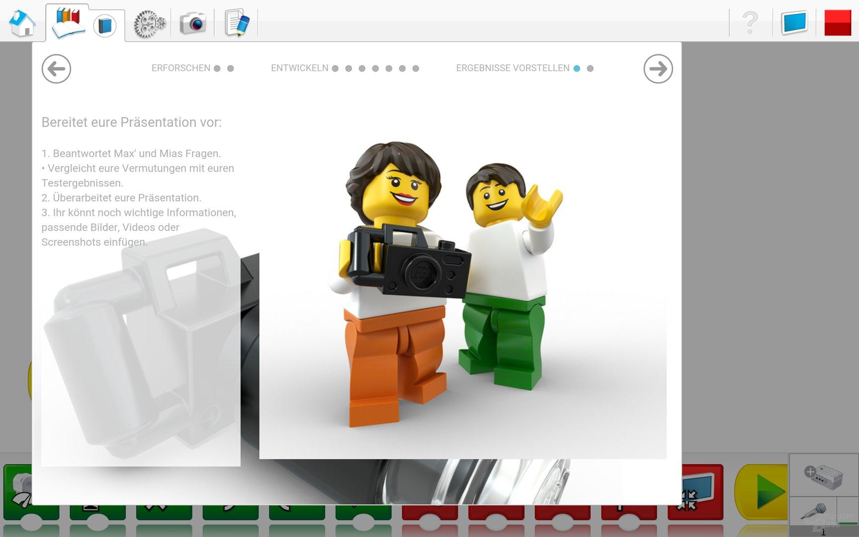 Lego WeDo 2.0 Android App – Hilfestellung für die Präsentation