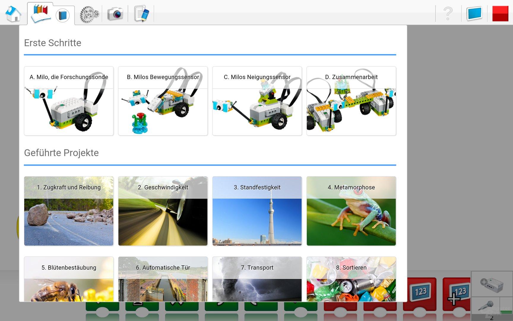 Lego WeDo 2.0 Android App – Projekte