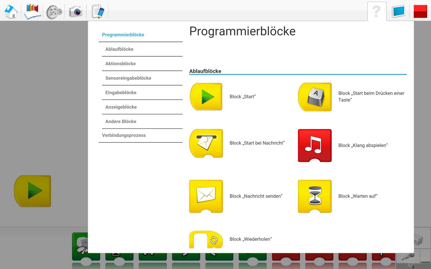 Lego WeDo 2.0 Android App – Übersicht Programmblöcke