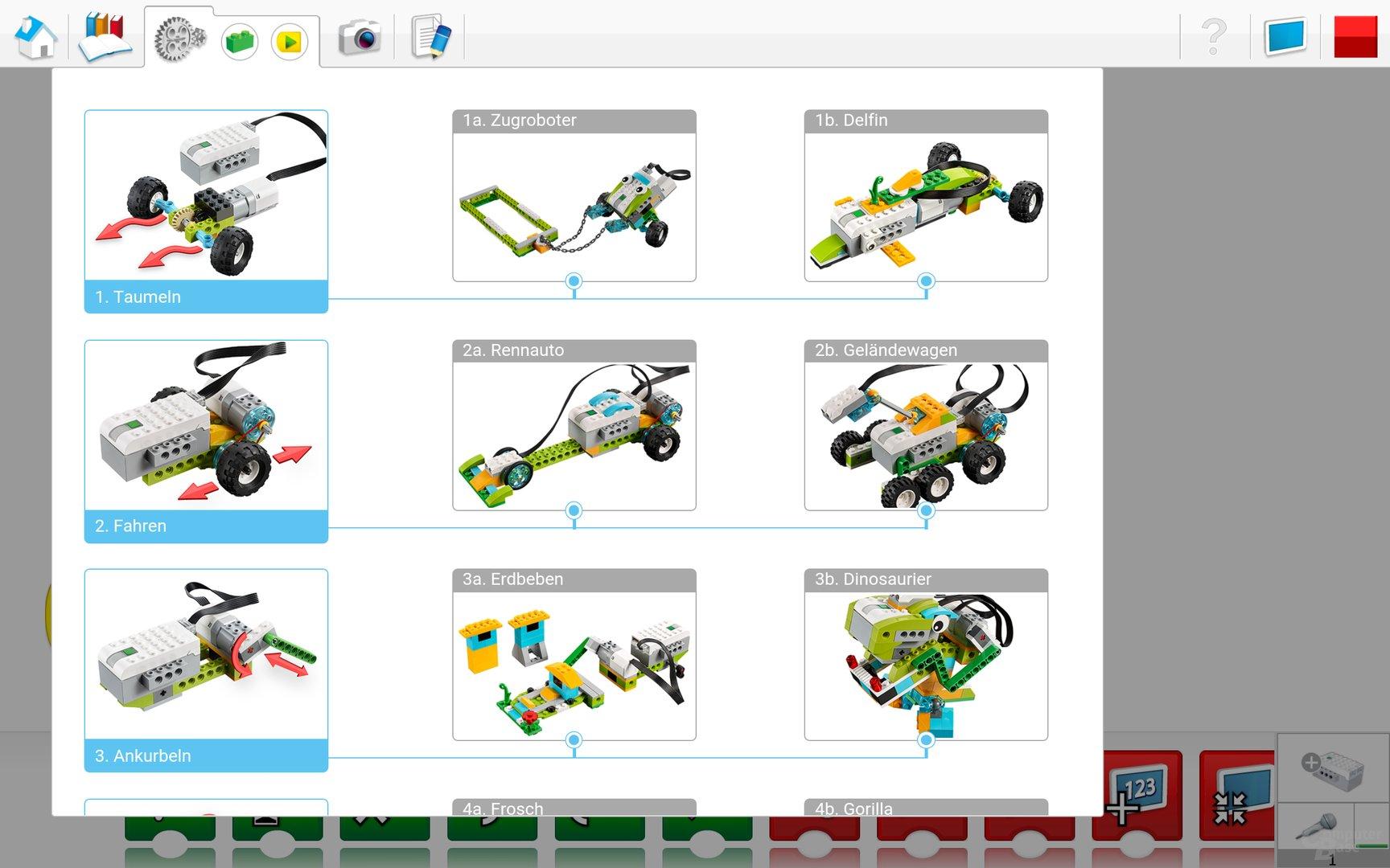 Lego WeDo 2.0 Android App – Konstruktionsbibliothek
