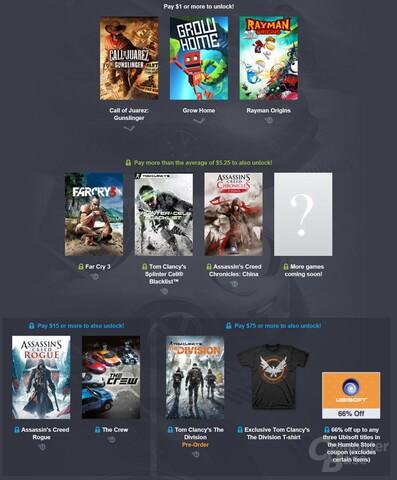 Das Humble Ubisoft Bundle enthält zahlreiche attraktive Spiele