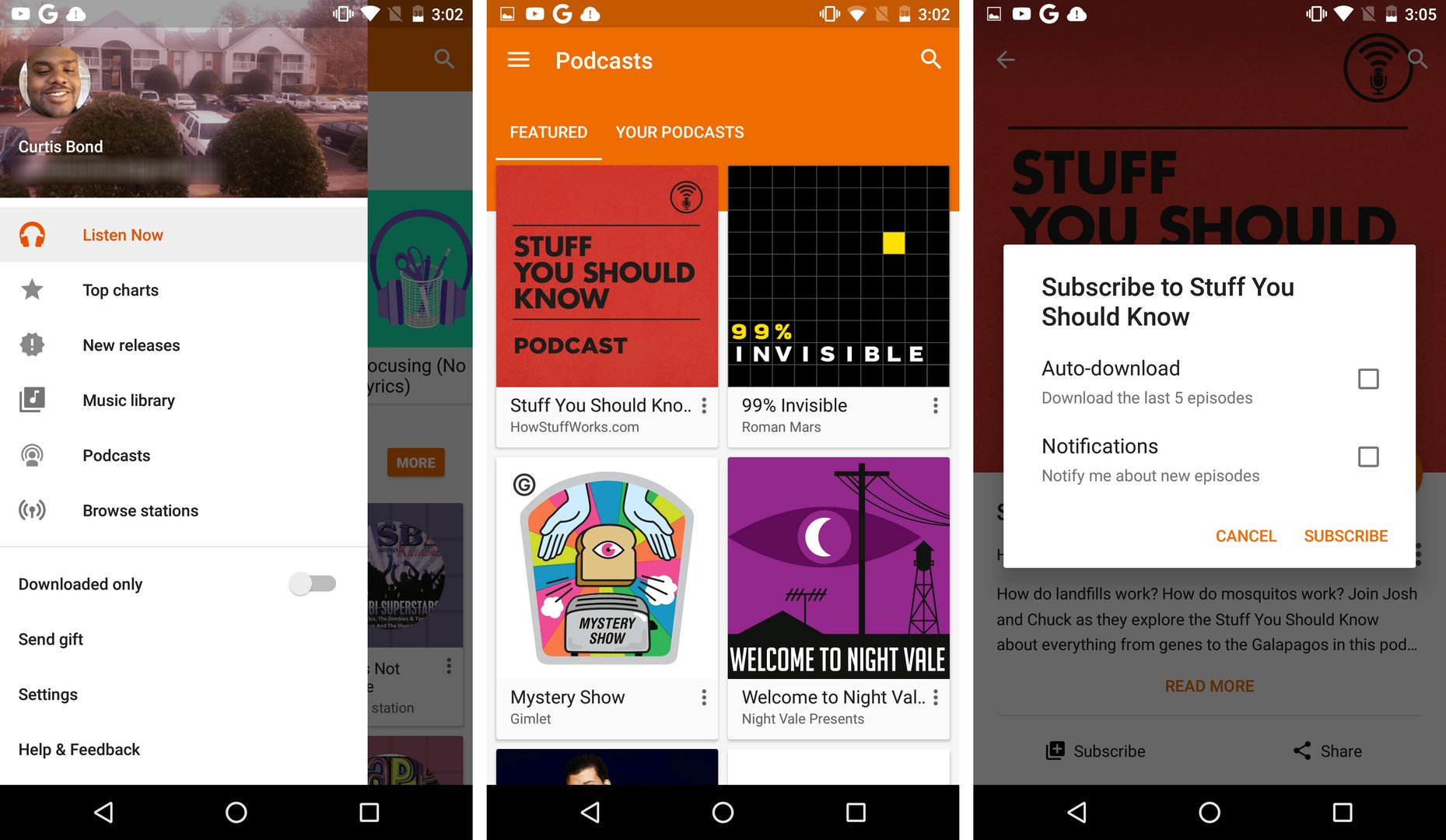 Podcasts in Google Play Music