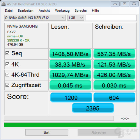 AS SSD mit Samsungs NVMe-Treiber