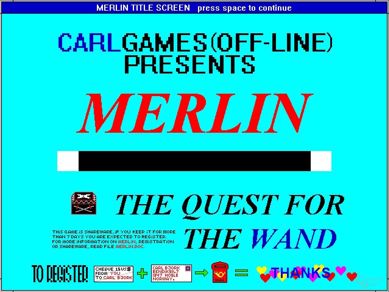 Das Rollenspiel Merlin (Shareware) bittet nett um Entlohnung