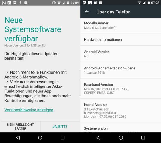Android 6.0 für die deutsche Version des Moto G3 (2015)