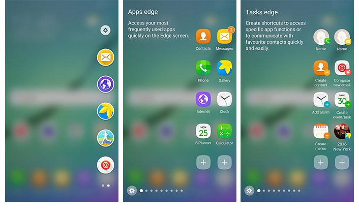 Apps-Anzeige vor (links) und nach (Mitte) dem Update; Aufgaben-Anzeige (rechts)