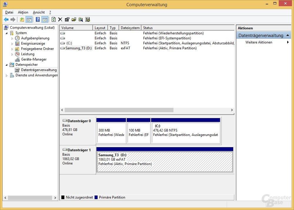 Datenträgerverwaltung meldet große Partition