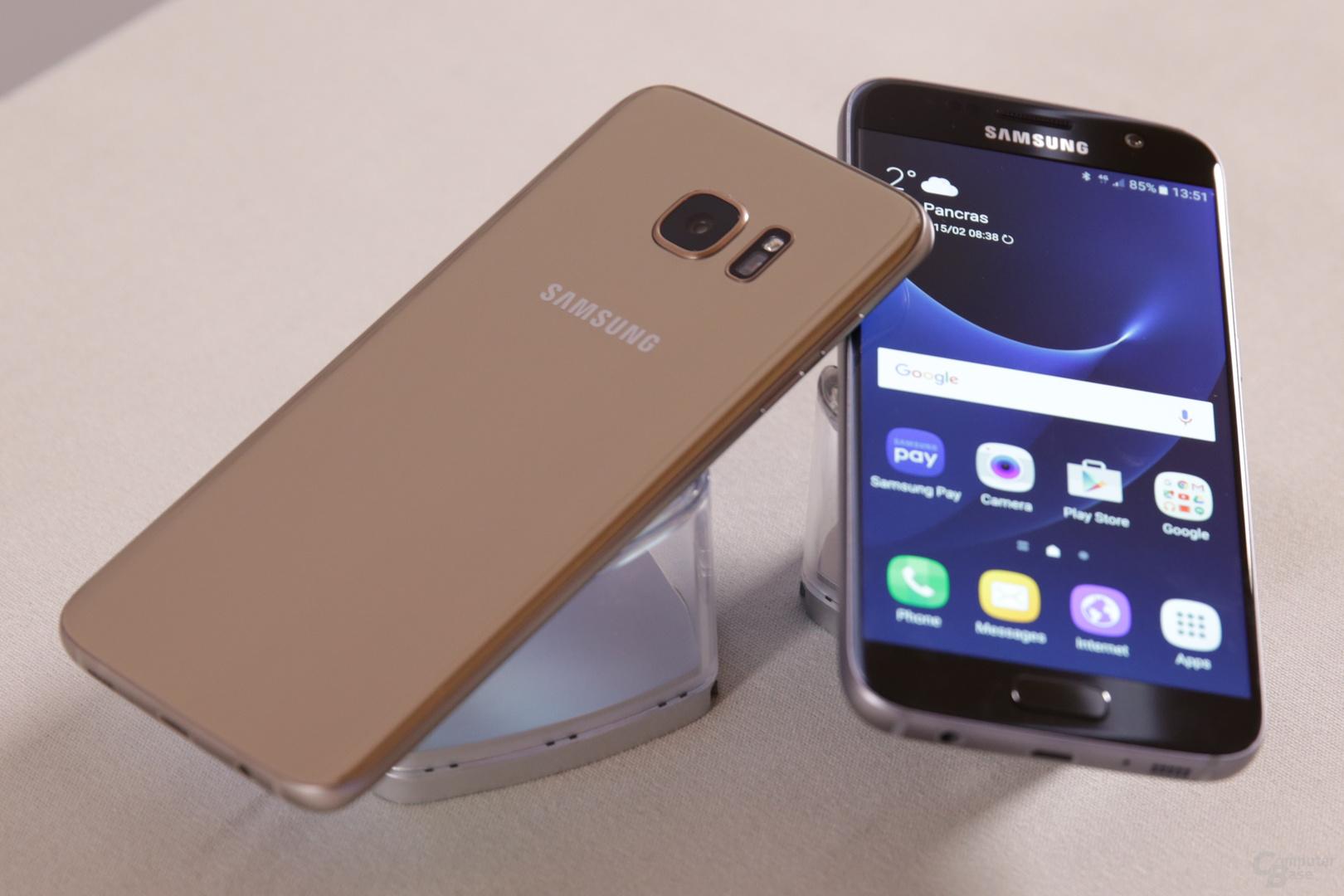 Galaxy S7 in Gold und Schwarz