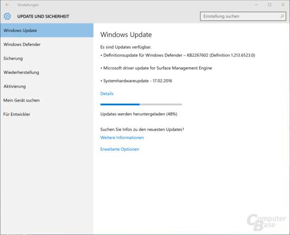 Die Updates werden über Wíndows Update verteilt