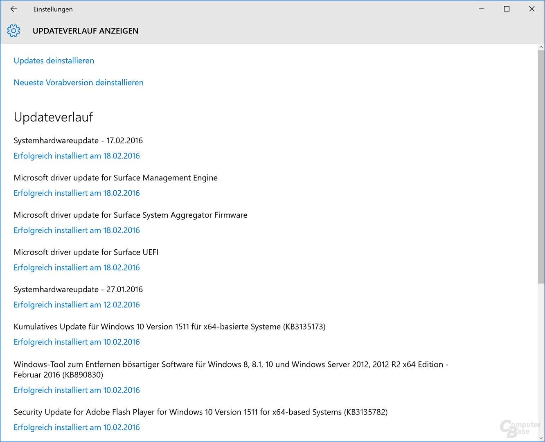 Alle Updates installiert